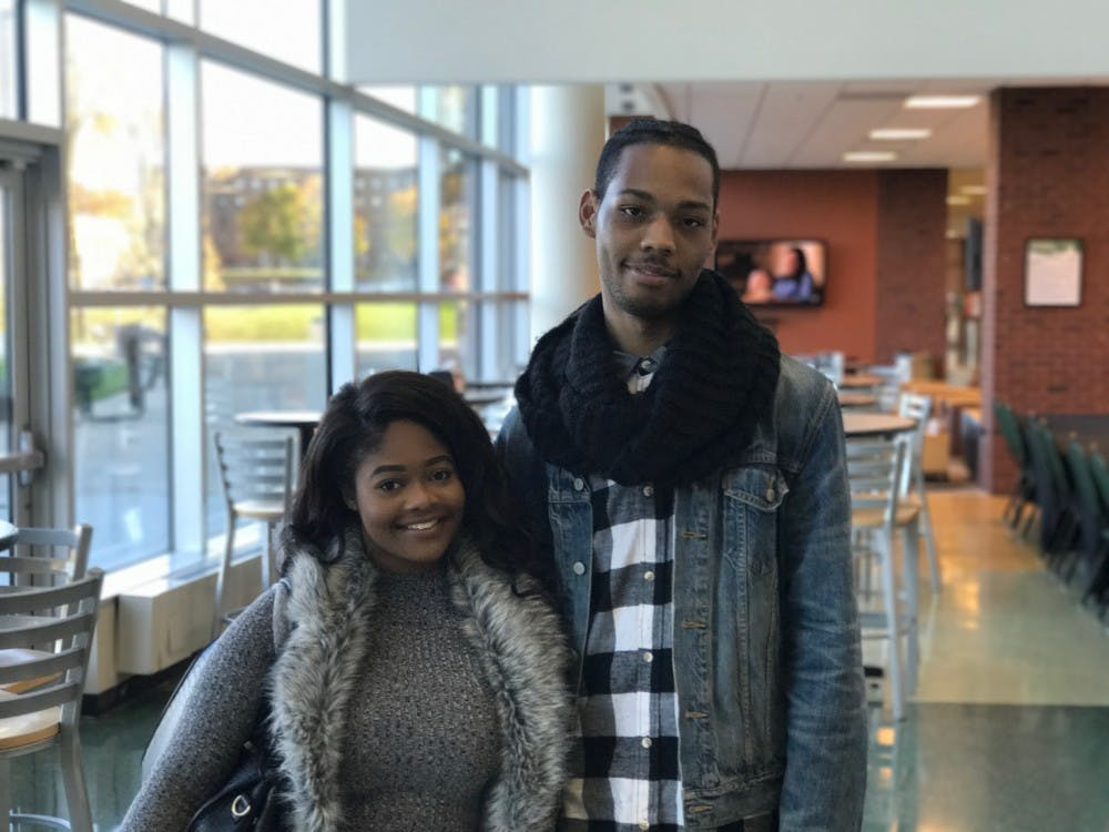 Turaan Hill (left) , EMU sophomore, social work major. Kameran Miller (right) , EMU sophomore, apparel textiles and merchandising major.