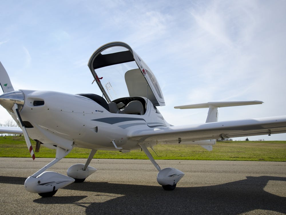The two seater Diamond 20 (DV20/DA20) is among the additional aircraft available to aviation students at EMU  as a result of the partnership between the university and Crosswinds Aviation. (EMU Division of Communication)