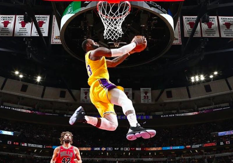 LeBron James dunks against the Chicago Bulls on March 12 at the United Center. Credit: kingjames