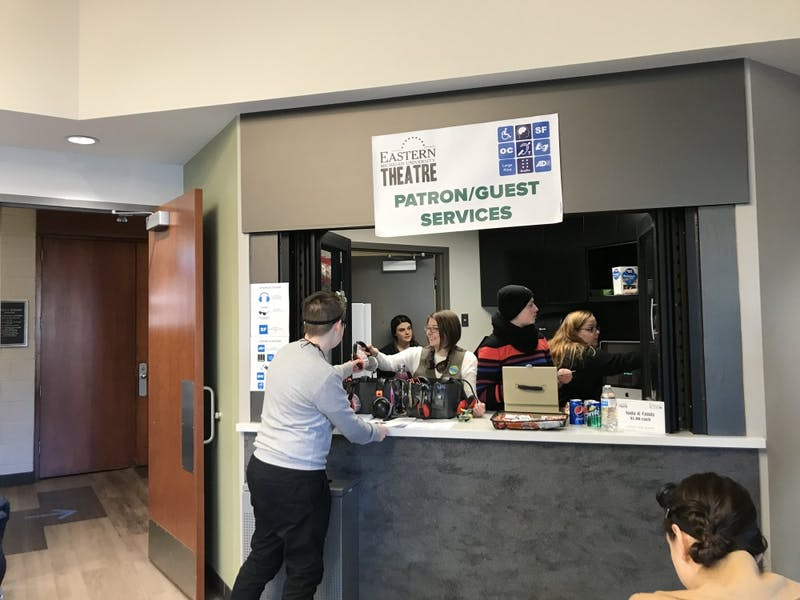 """At the play """"James and the Giant Peach"""" the Patron/Guest Services booth had several accessibility options, such as noise-cancelling headphones, to enhance the performance experience for audience members with disabilities. Photo courtesy of Elena SV Flys"""