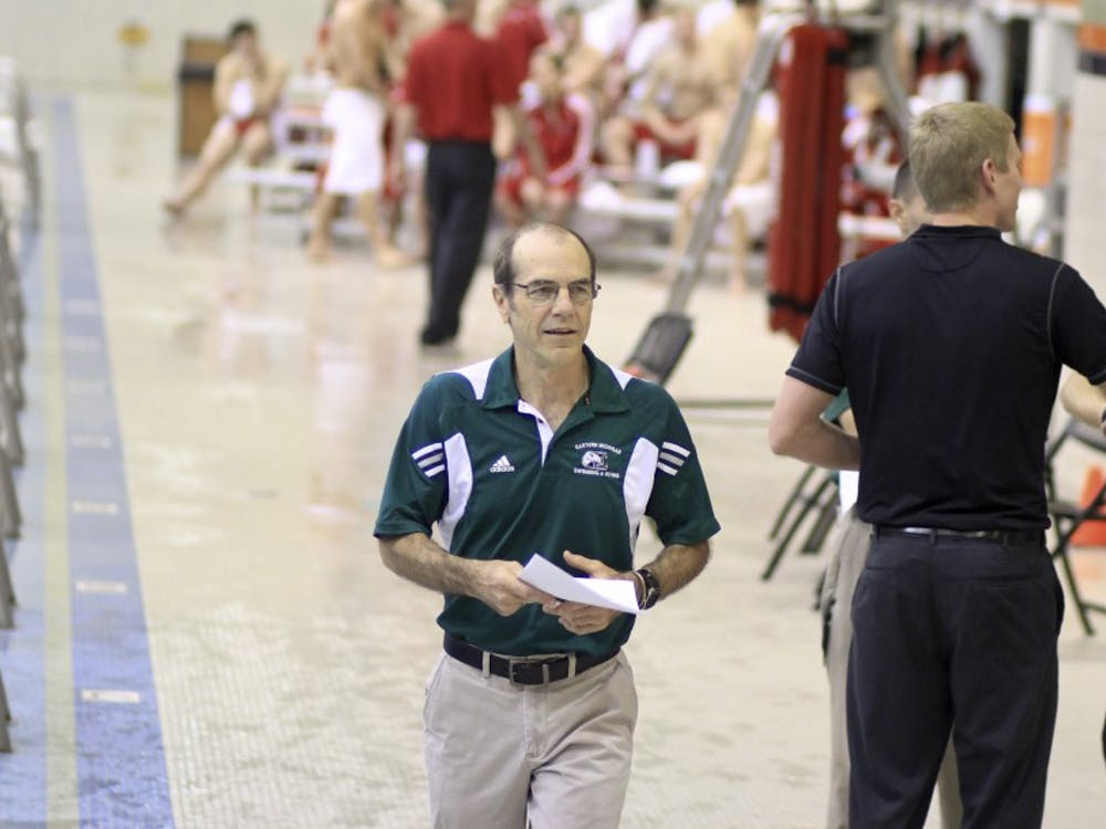 Peter Linn, EMU swimming head coach, on October 2, 2013.