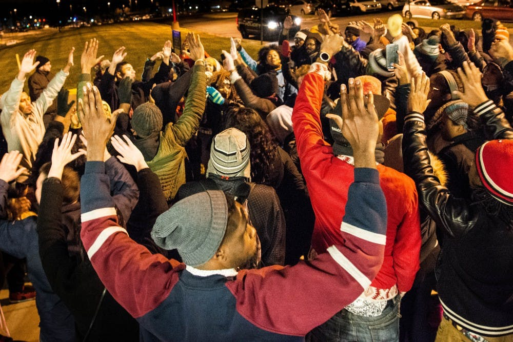 Students march on campus in protest of Ferguson decision