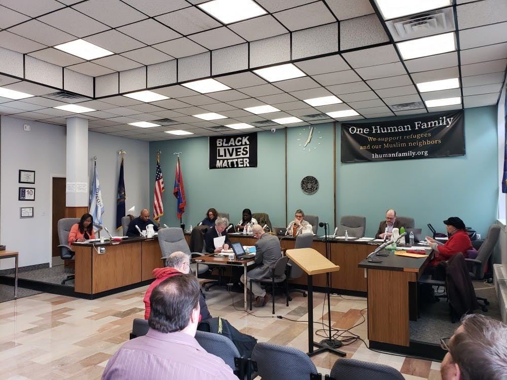Mayor Beth Barshet calls the Ypsilanti City Council meeting to order with (from left to right) City Manager Frances McMullan, Council Member Anthony Morgan, Council Member Jeniffer Symmans, Council Member Nicole Brown, Mayor Barshet, Council Member Steve Wilcoxen and Mayor Pro-Tem Lois Richardson present on April 2.