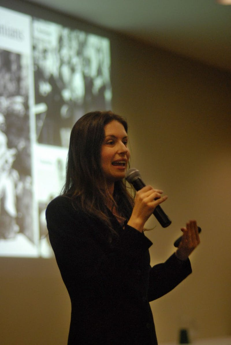 Palestinian rights activist Anna Baltzer gives a lecture about her experiences in Palestine Tuesday   at the Student Center