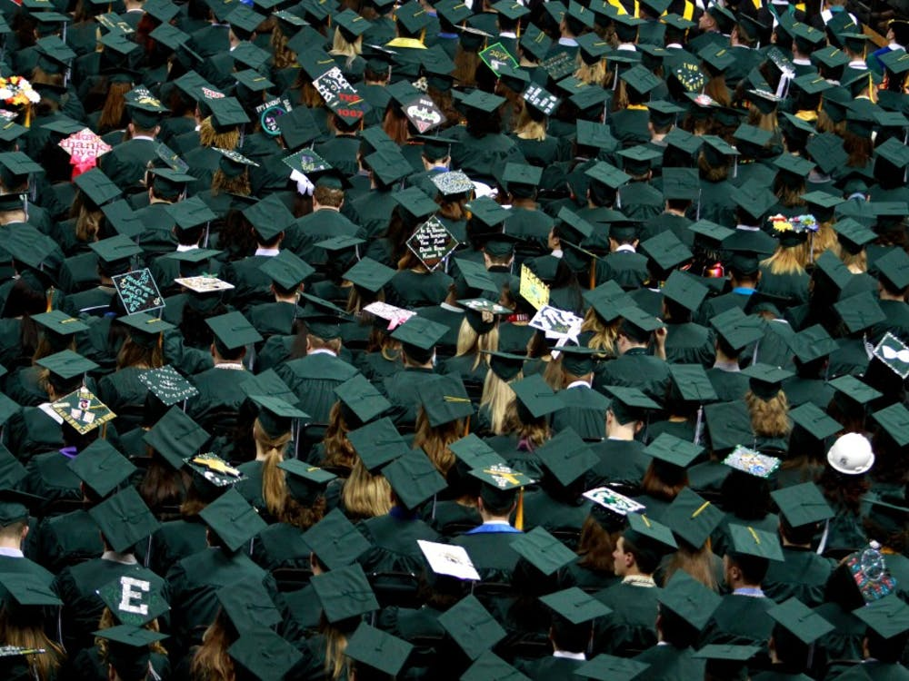 Some of the graduates during the Spring Commencement at the Convocation Center in Ypsilanti on Sunday, April 27, 2015.