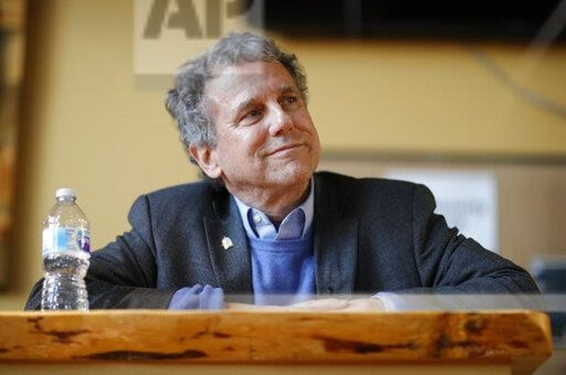 U.S. Sen. Sherrod Brown, D-Ohio, waits before speaking at an event at a brewery Saturday, Feb. 23, 2019, in Henderson, Nev. (AP Photo/John Locher)