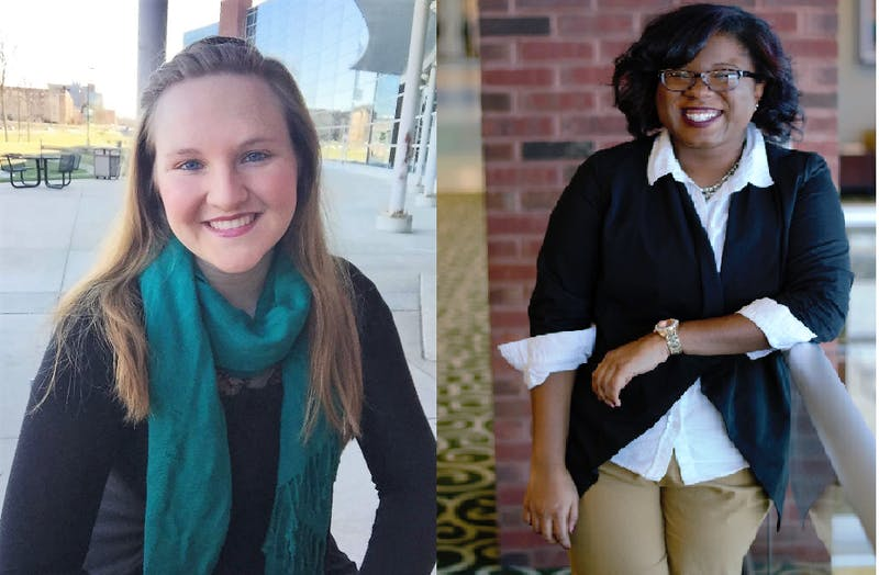 Left to right, presidential candidates Kiera Fegan and Tanasia Morton