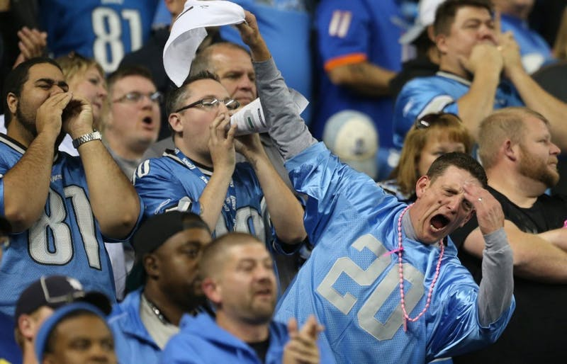 Detroit Lions fans react after the missed field goal by Alex Henery during fourth quarter action against the Buffalo Bills  at Ford Field in Detroit Sunday, October 5, 2014. (Kirthmon F. Dozier/Detroit Free Press/MCT)