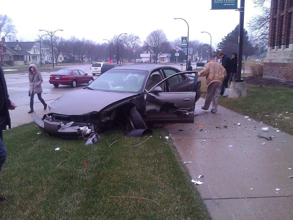 Car accident occurs near McKenny Hall