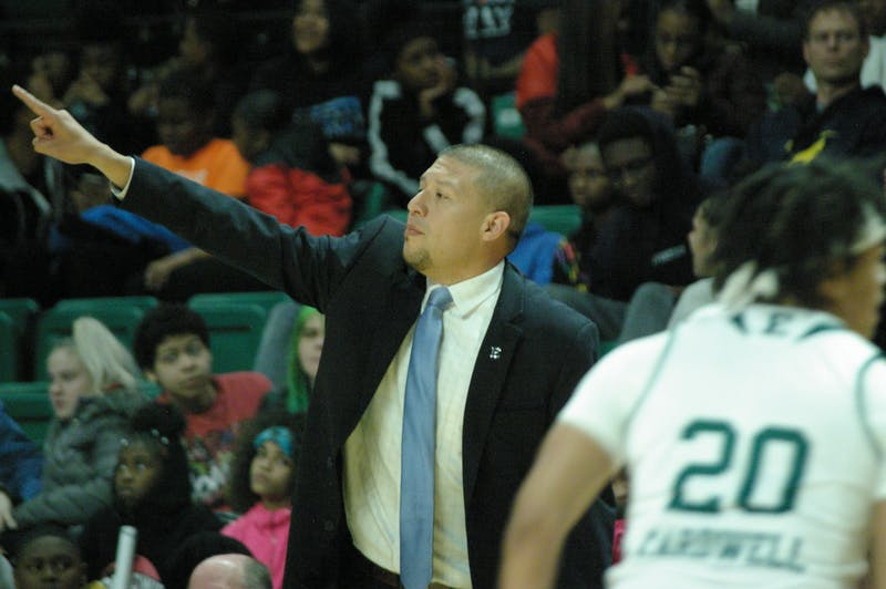EMU head coach Fred Castro directs the team at the Convocation Center on Nov. 8.