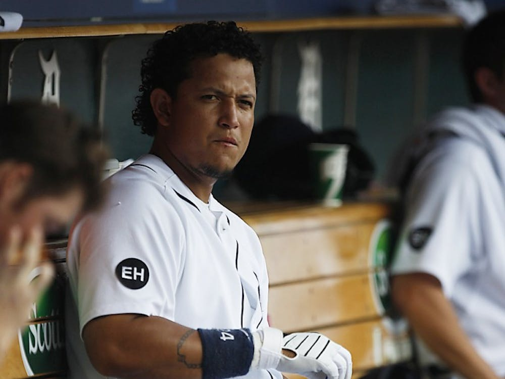 Detroit Tigers' Miguel Cabrera sits in the dugout at Comerica Park.