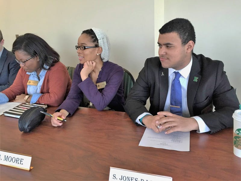 From left to right, Senator Tanasia Morton, Senator Brianna Moore, and Senator Sam Jones-Darling during their March 22 meeting.