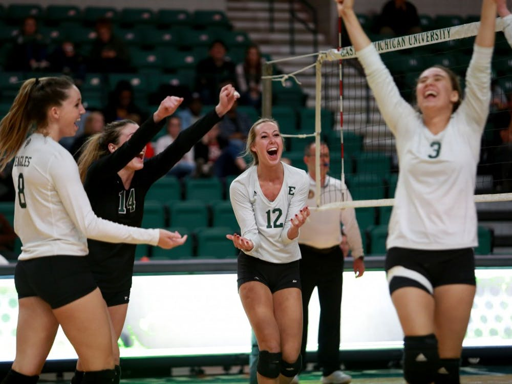 The team celebrates win over Western Michigan at the Convocation Center on Friday Nov. 3.