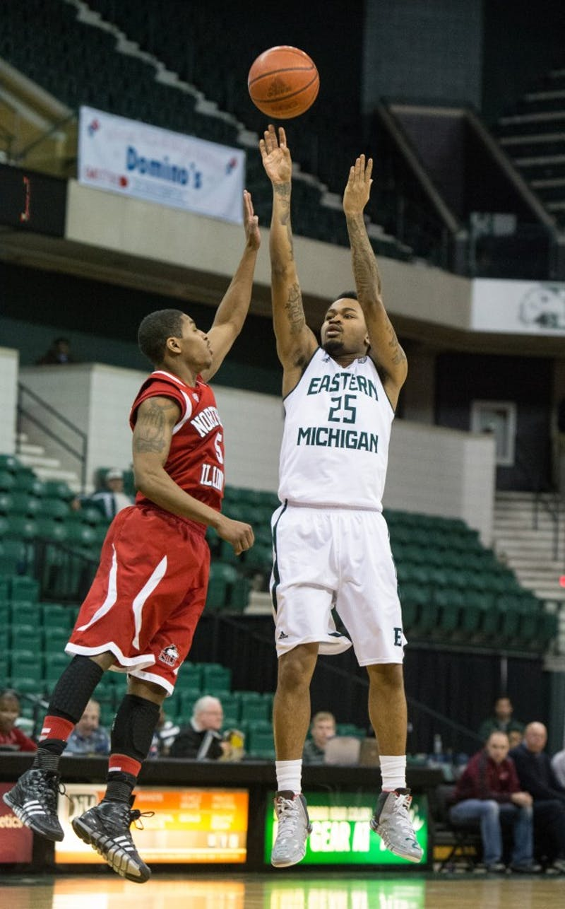 Eastern Michigan guard Darell Combs (25) is fouled on a shot attempt in the Eagles 56-52 win over Northern Illinois Saturday afternoon.