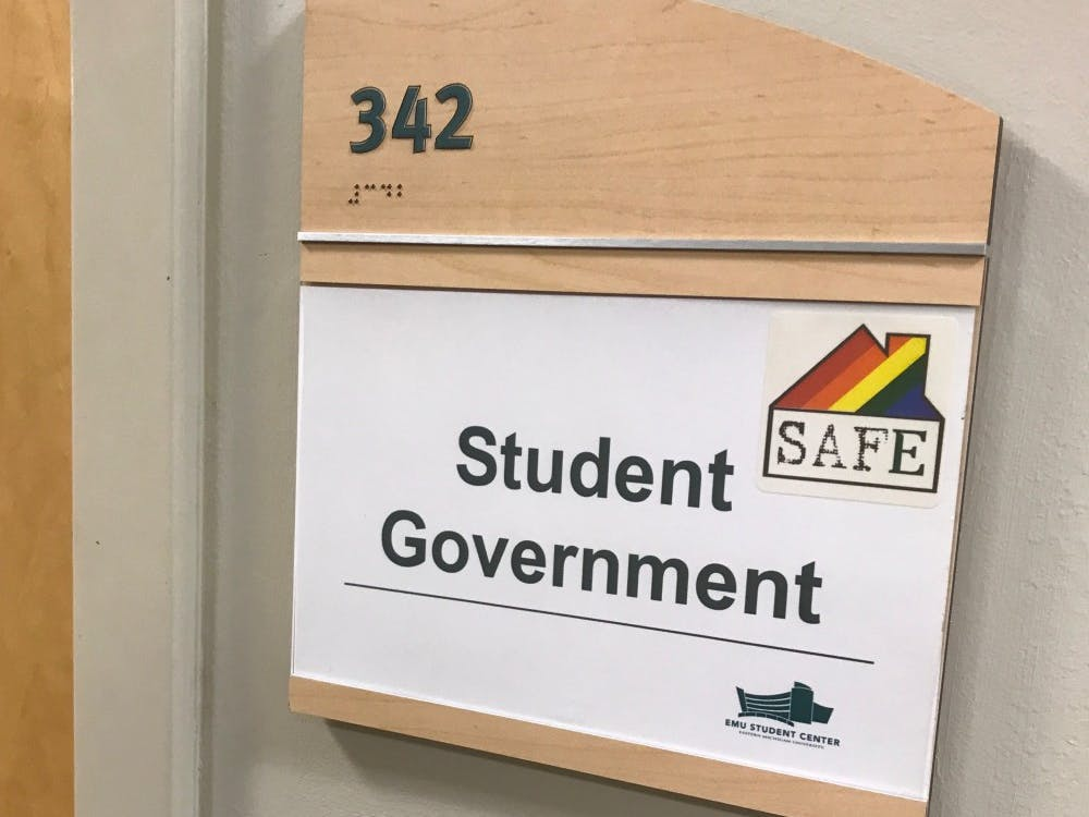 The sign for the EMU Student Government office in the Student Center.