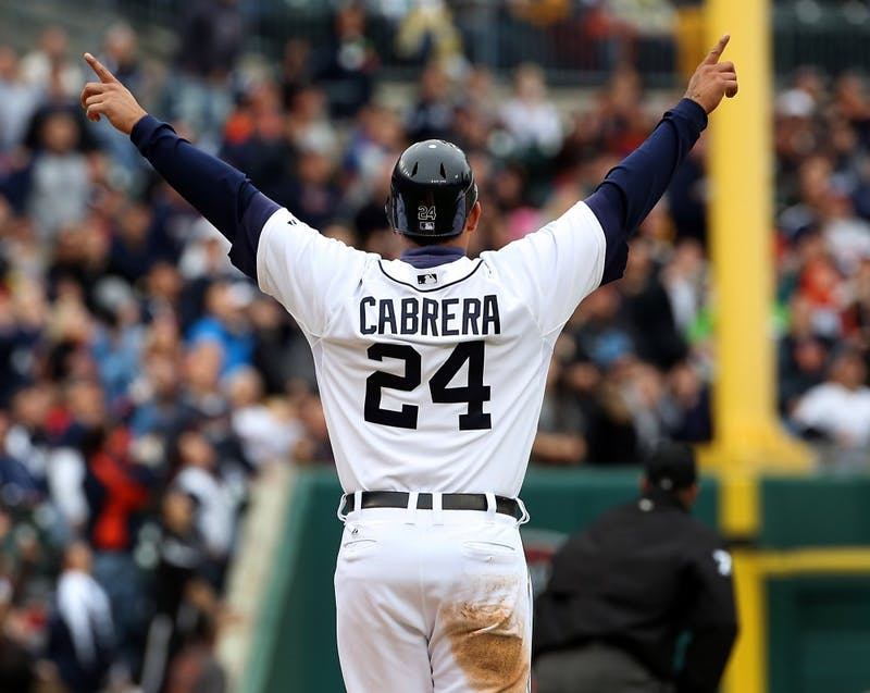 The Detroit Tigers' Miguel Cabrera, celebrating a home run on September 22, 2012, is the American League's first Triple Crown winner in 45 years and he captured the league's MVP trophy on Thursday, November 15, 2012. (Diane Weiss/Detroit Free Press/MCT)