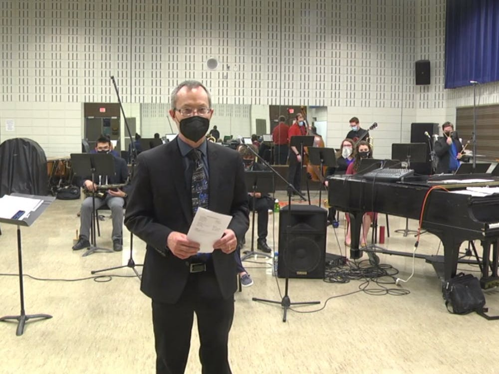 A screenshot from the EMU Jazz Ensemble concert, live-streamed from the Alexander Music Hall.