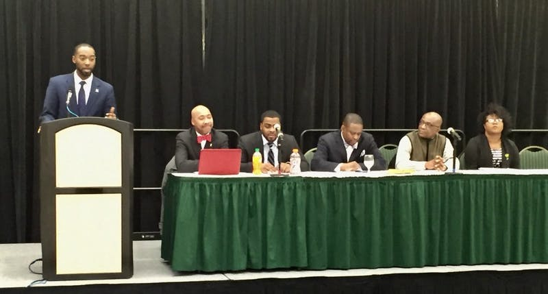 Board of RegentAlexander Simpson spoke during his town hall meet and greet.