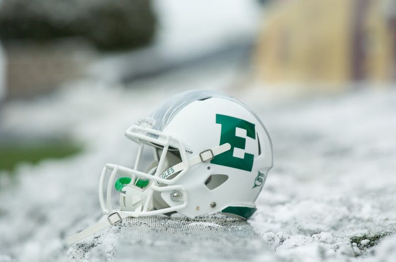 The field was coated in a thin layer of snow before EMU's game against CMU on 29 November in Mt. Pleasant.