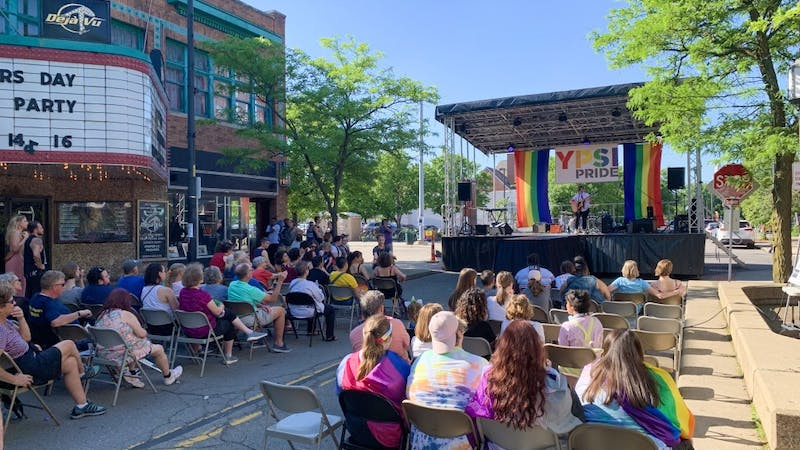 The crowd at Pearl Stage for Ypsi Pride on Friday, June 7.