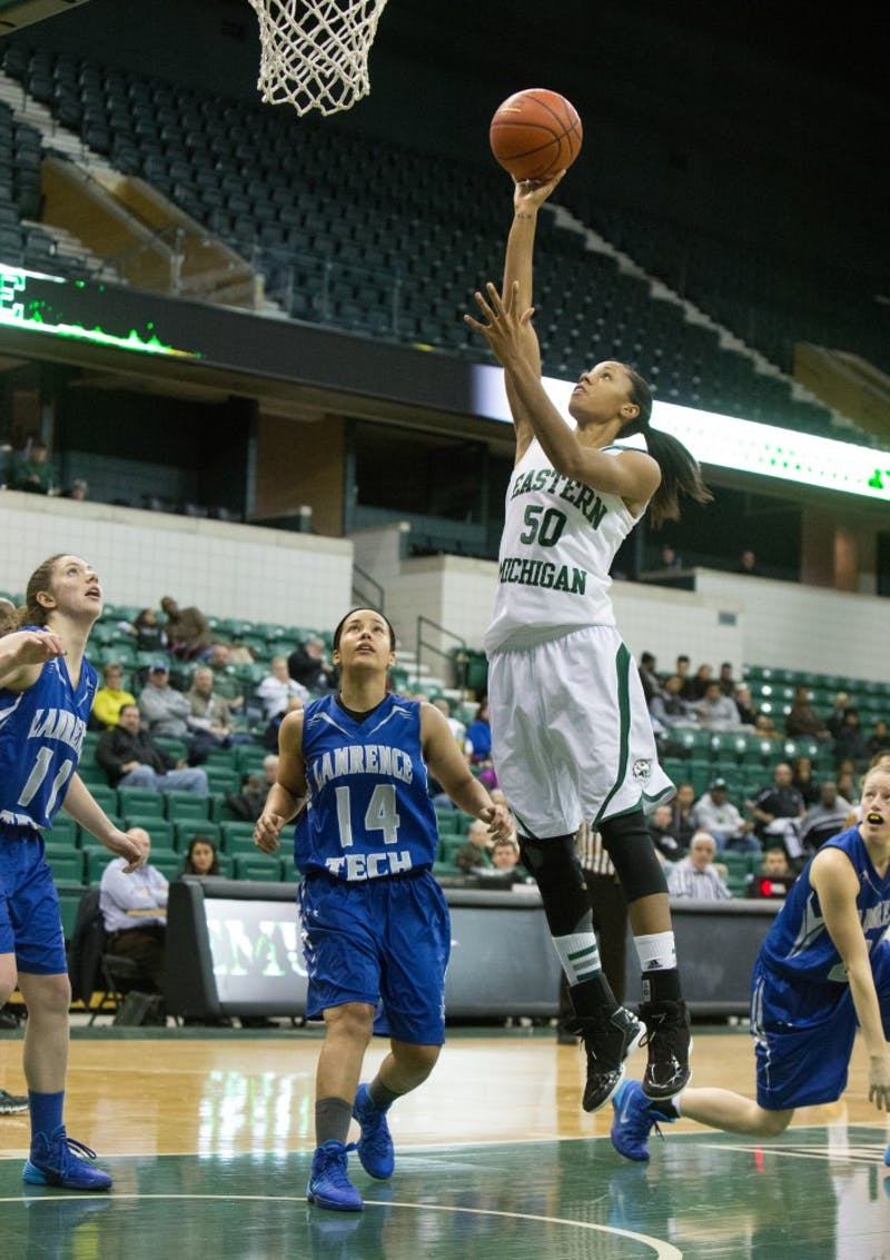 EMU forward Natachia Watkings (50) goes in for the lay up against Lawrence Tech Tuesday afternoon.