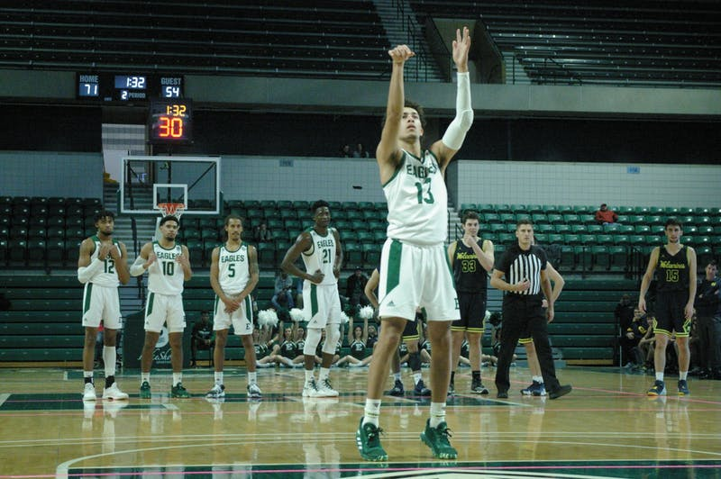 EMU guard Chris James shoots a technical foul free throw at the Convocation Center on Nov. 14.