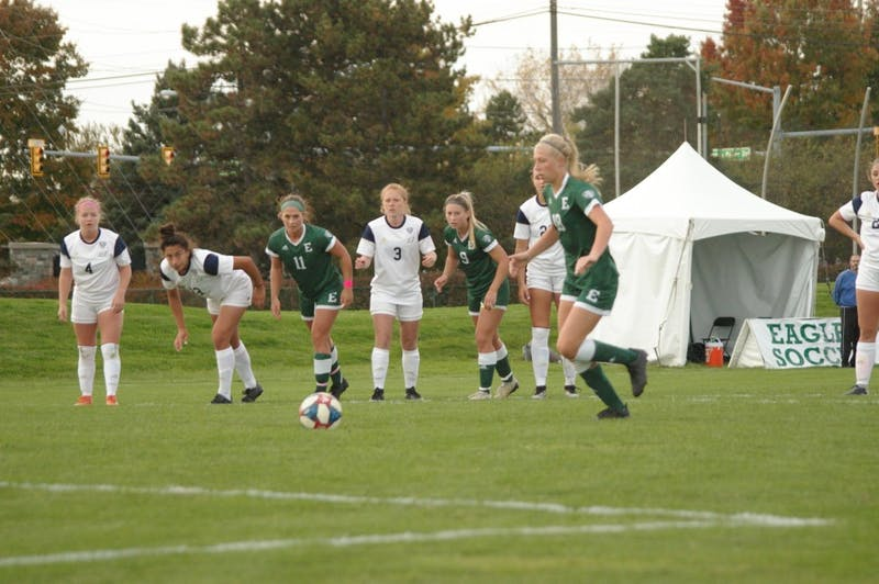 EMU forward Amanda Cripps sets to shoot a penalty kick that closed the deficit to 3-2 at Scicluna Field on Oct. 24.