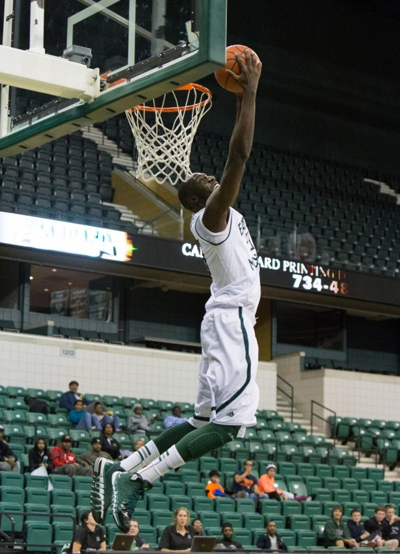 Eagle forward Glenn Bryant throws down a reverse dunk in Eastern Michigan's 101-38 win Monday night.