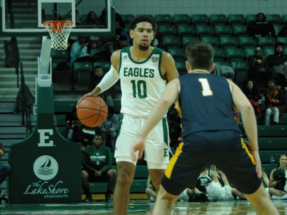 EMU guard Darion Spottsville sets at the top of the key at the Convocation Center on Nov. 8.