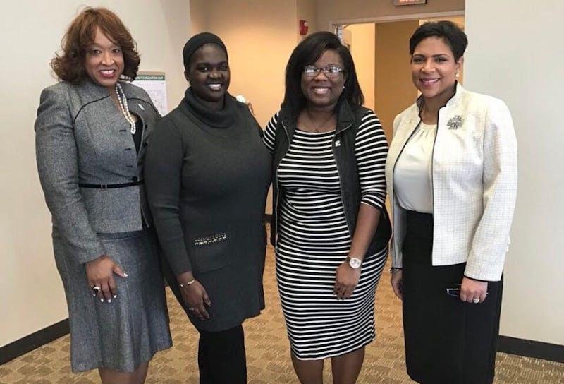 Sate Rep.Sherry Gay-Dagnogo, Mayor Pro-Tem Nicole Brown,Student Body President Tanasia Morton, and State Rep. Slyvia Santana during EmpowHer to Run, March 6.