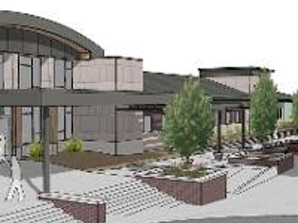 Mock up design of new health center to be built on EMU's campus.