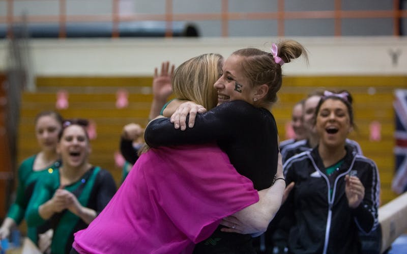 Eastern Michigan juniorNatalie Gervais after setting a career high on the balance beam with a 9.925 in Bowling Green Saturday night.