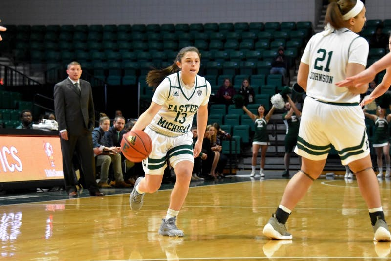 Jenna Annecchiarico enters the offensive zone in the women's basketball game against Bowling Green. Richard Palaikis II | EMU Athletics.