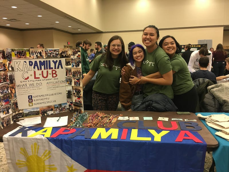Kapamilya stands behind their table hoping to find new members at Winter Fest