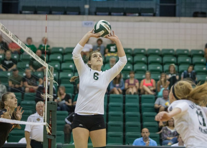 Jill Briner had 10 kills Saturday in the team's win over Kent St.