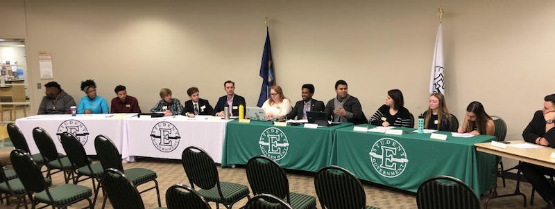 "The Student Senate at Eastern Michigan University (EMU) discusses whether to pass resolution 105-13, which would allocate funds to the Departments of Political Science, History and Philosophy, and the Center for Jewish Studies to inform individuals about peaceful, protective, and legal means for supporting victims, and preventing acts, of ""religious and political violence."""