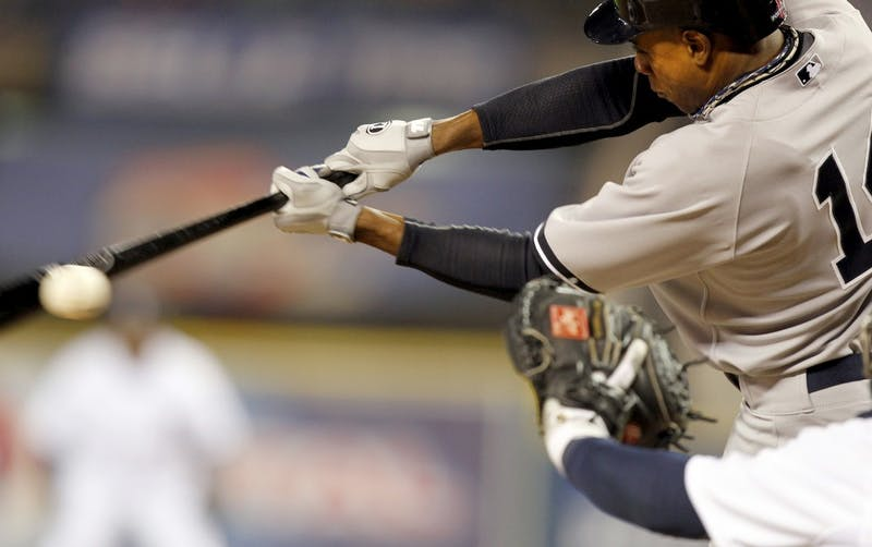 New York Yankees' Curtis Granderson strikes out during third inning action of Game 3 of the American League Championship Series at Comerica Park in Detroit, Michigan on Tuesday, October 16, 2012. (Julian H. Gonzalez/Detroit Free Press/MCT)