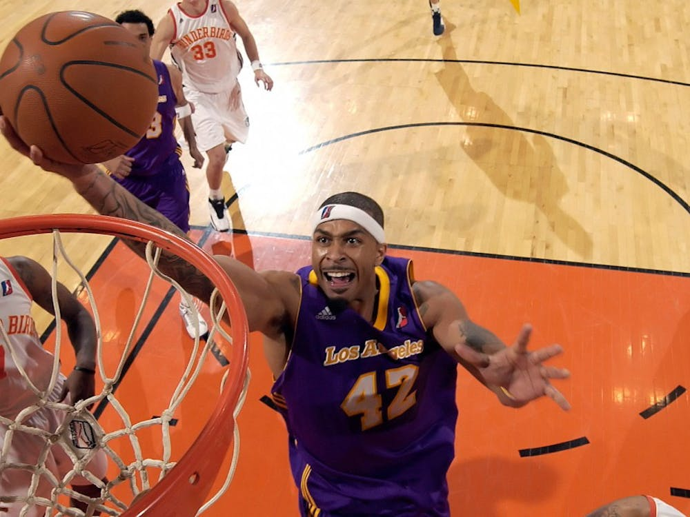 Former EMU player James Jackson (42) goes for a layup in a game Nov. 28 for the NBDL's Los Angeles D-Fenders.
