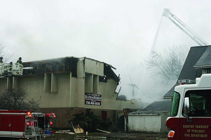 Authorities are still trying to determine what started a fire that burned the building on Ecorse Road that housed the law office of Block & Weider.