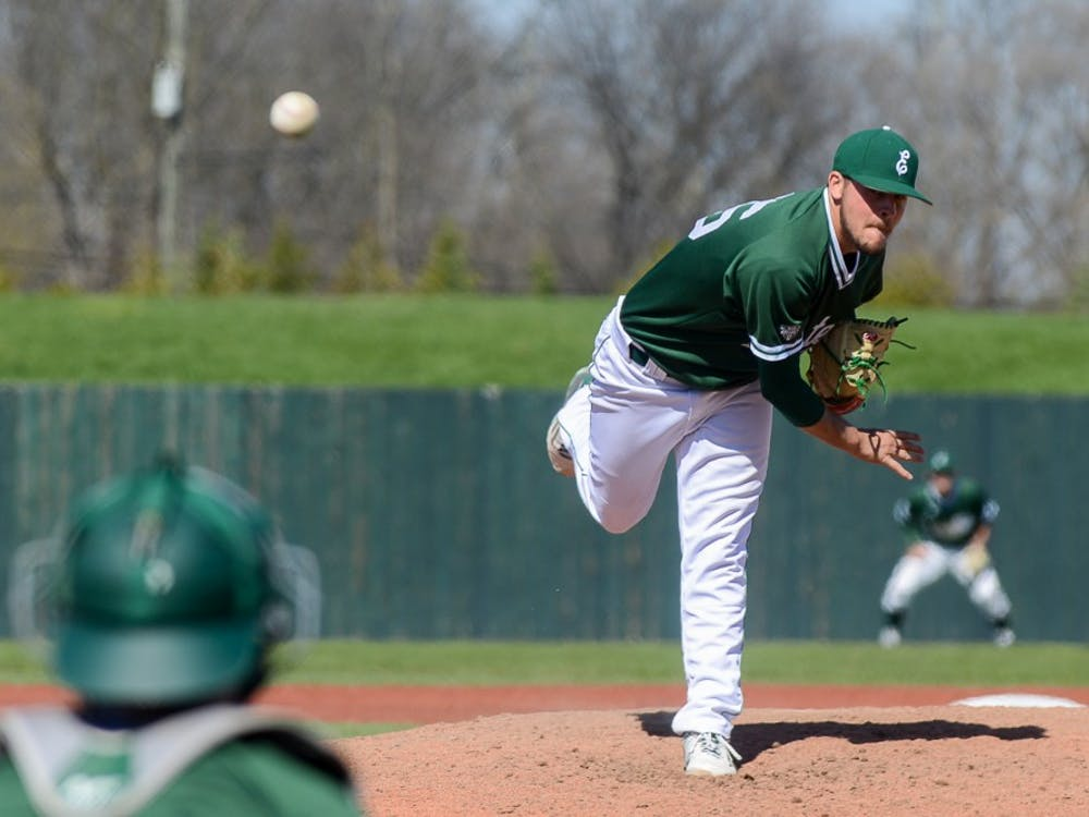 Augie Gallardo pitches against Kent State on April 16.