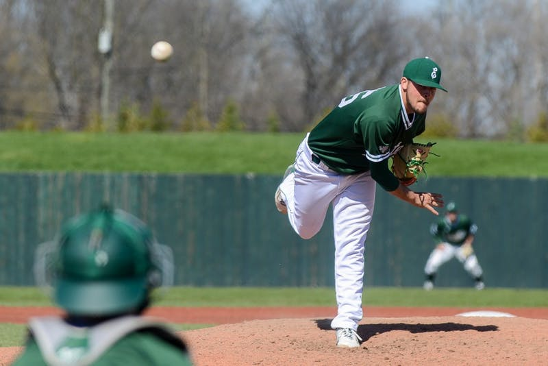Eastern Michigan pitcher Augie Gallardo pitches during the Eagles' game against Kent State in Ypsilanti, 16 April.