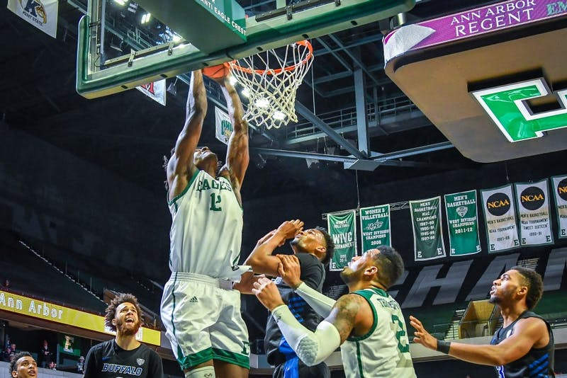Picture of Boubacar Toure during the men's basketball game versus the Buffalo Bulls on Jan. 4 at the Convocation Center. Toure had a double-double against Akron Tuesday. Photo credit: Steve King, EMU Athletics.