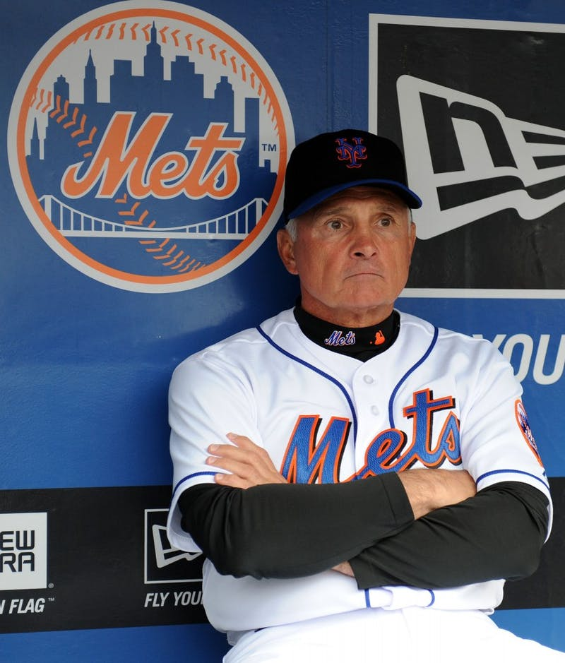 New York Mets manager Terry Collins (10) sits in the dugout prior to the game against the Florida Marlins at Citi Field in New York, Tuesday, May 17, 2011. The game was postponed due to weather. No make update was announced. (Christopher Pasatieri/Newsday/MCT)