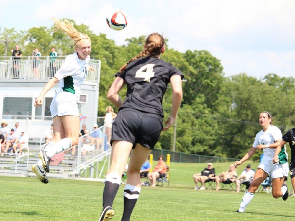 Eagles junior Madison Hirsch scores on a header delivered from Ellie Tillar.