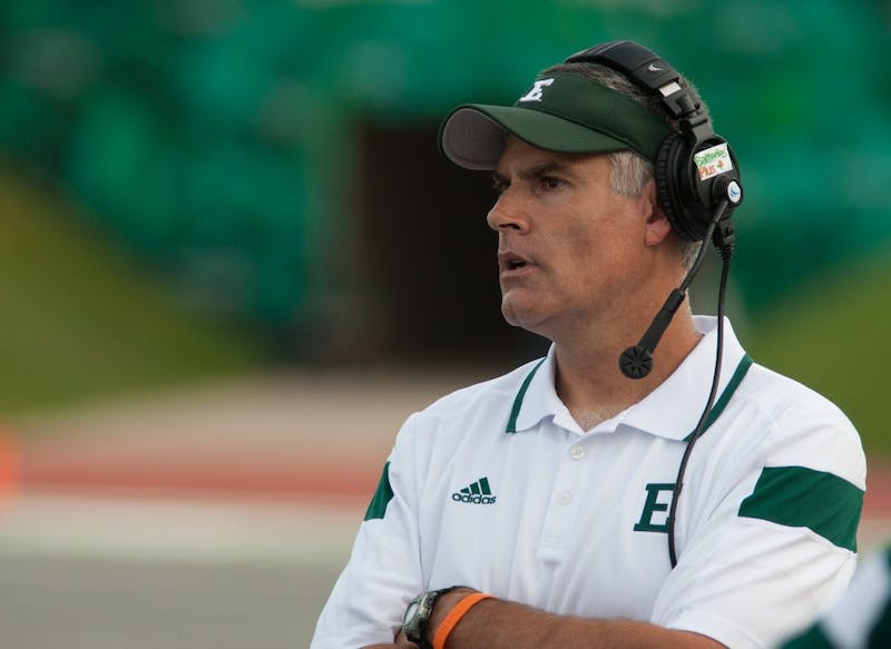 EMU head coach on the sideline during the Eagles 31-28 win over Morgan State.