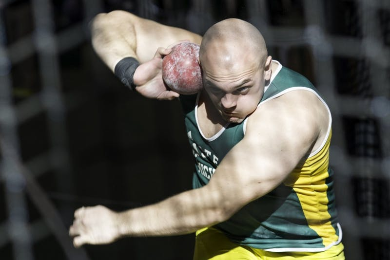 Keith Williams competes in shot put on Jan. 23, 2016 in Ypsilanti.