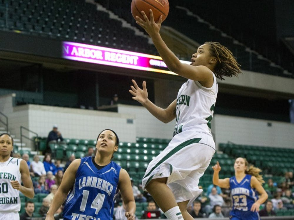 EMU guard Cha Sweeney (24)  drives to the hoop against Lawrence Tech Tuesday afternoon. Sweeney finished with 21 points.