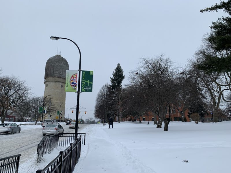 A gallery showing parts of EMU's campus after the first major snowfall of the year.