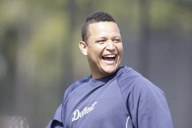 The Detroit Tigers' Miguel Cabrera, having a laugh during Spring Training on February 24, 2012, is the American League's first Triple Crown winner in 45 years and he captured the league's MVP trophy on Thursday, November 15, 2012. (Julian H. Gonzalez/Detroit Free Press/MCT)