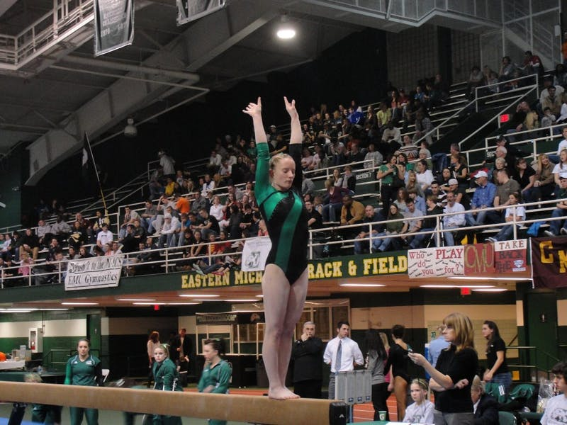 Sophomore Stacie Wood, besides competing on the balance beam, scored a 9.675 on the uneven bars and 9.575 in the floor exercise, finishing fifth and eighth, respectively.
